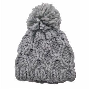 Hollister Grey Knit Pom Pom beanie